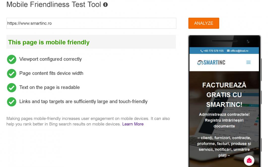 Am un website optimizat pentru dispozitive mobile?